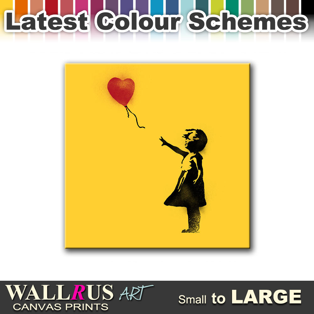 Balloon Girl Heart BANKSY HD Canvas Print Framed Photo Picture Wall ...