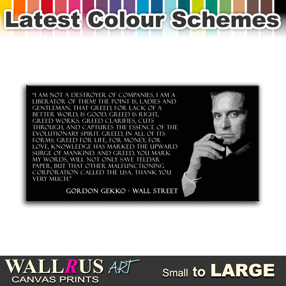 Wall Street Quotes: Wall Street Gordon Gekko Movie Canvas Print Framed Photo
