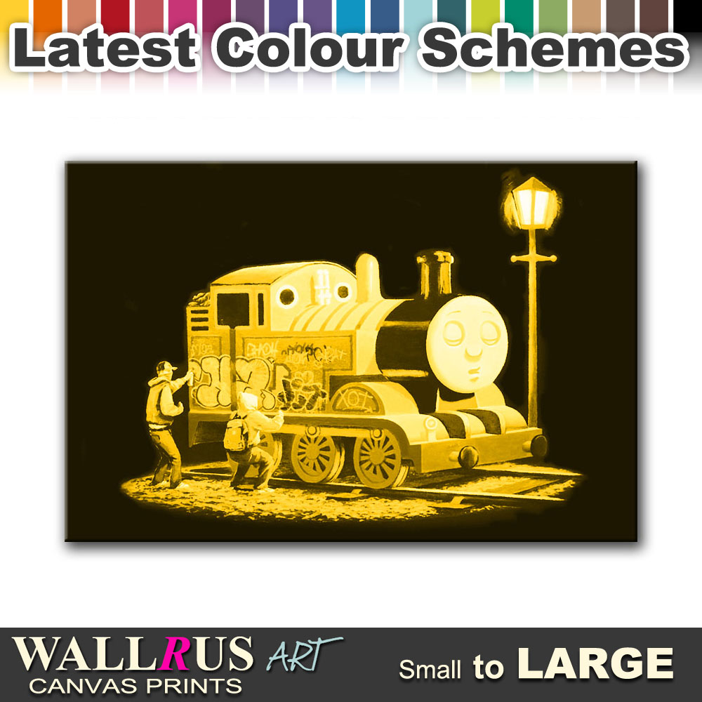Thomas Tank Engine BANKSY Canvas Print Framed Photo Picture Wall ...