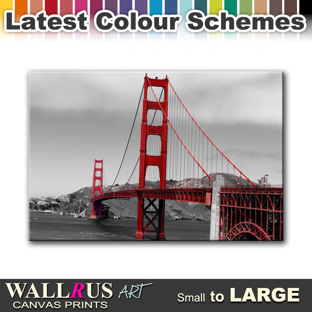 san francisco golden gate bridge city canvas print framed. Black Bedroom Furniture Sets. Home Design Ideas