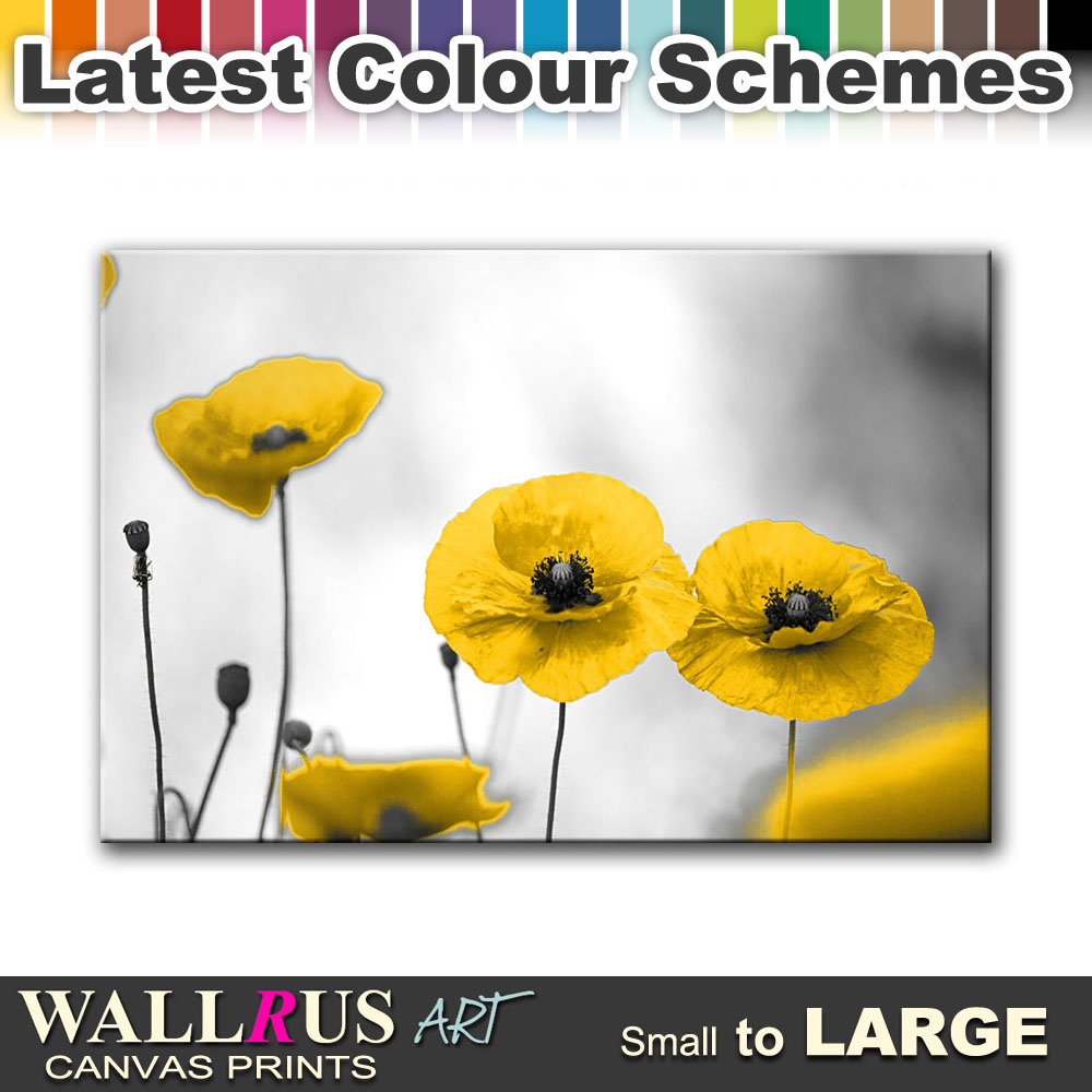 Poppy Field Flowers FLORAL Canvas Print Framed Photo Picture Wall ...